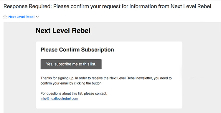 Next level Rebel Email Confirmation